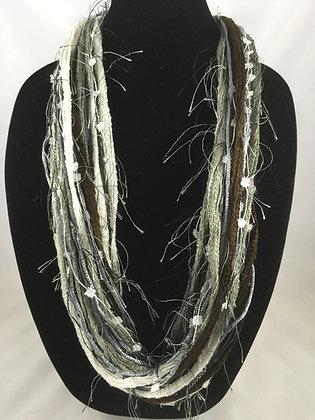 Festive Stone Pebble Plush Necklace by Artisan Jane Arey