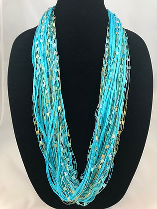 Aqua Cotton Gem Jewel Necklace by Artisan Jane Arey