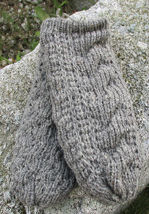 Cable Mitten, Oxford Gray