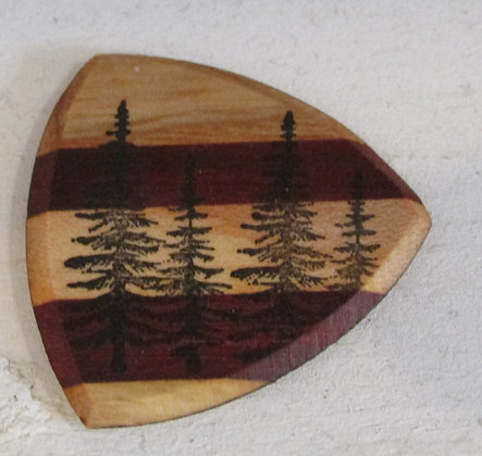 Maine Pine Trees Wooden Guitar Pick by Artisan Chris Gray