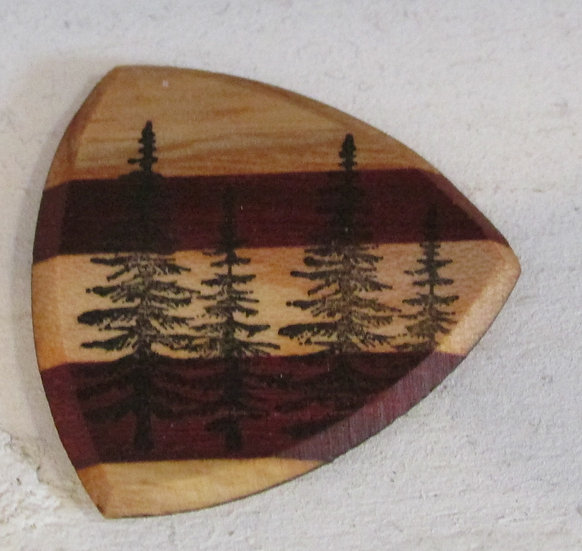 Maine Pine Trees Wooden Guitar Pick