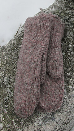 Granite Fleece lined Wool Handknit Mittens