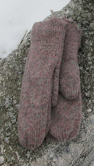 Granite Fleece lined Wool Handknit Mittens