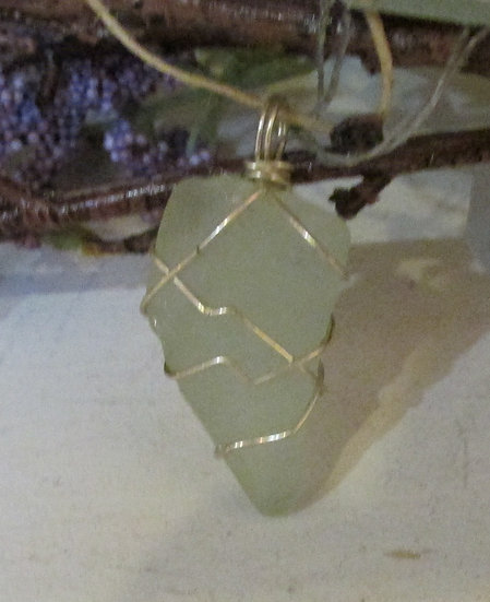 Seaglass Pendant wrapped in Sterling Silver