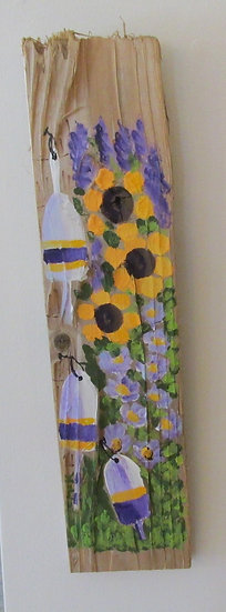 Sunflower Extravaganza Hand Painted on Driftwood