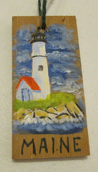 Hand painted Maine Lighthouse ornament