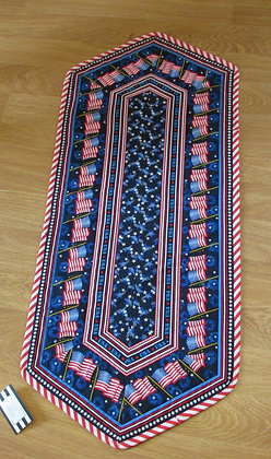 Patriotic/ Maine  Lobster Reversible Table Runner by Artisan May Bouchard