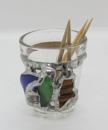 Embellished Tooth pick holder with Seaglass by Artisan Karen Lannon