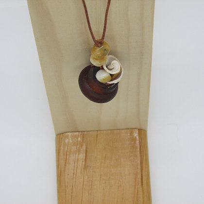 Leather and Copper Pendant by Artisan Sopiel's Sea Feathers