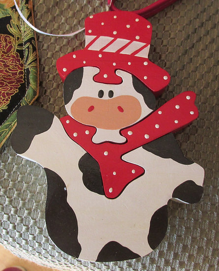 Cow Puzzle Ornament