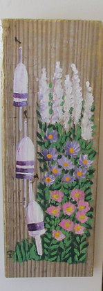 Flowers and Buoys Hand Painted on Driftwood by Artisan Candace McKellar