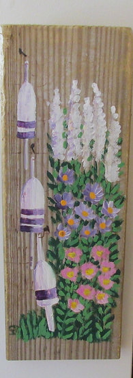 Flowers and Buoys Hand Painted on Driftwood