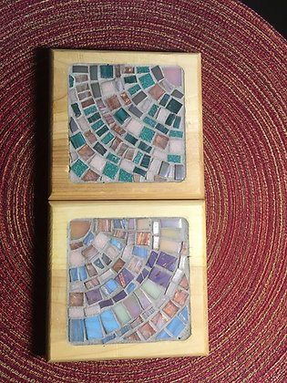Maine Sky:  Dawn and Northern Lights Coaster set made by Angela Maniak