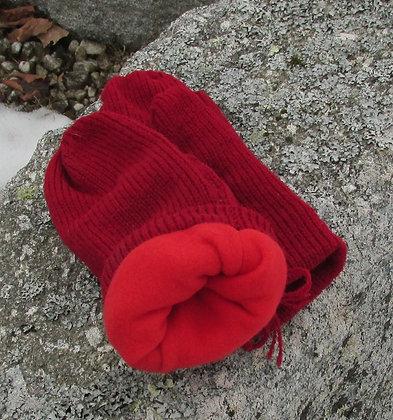 Cranberry Fleece Lined Wool Handknit Mittens
