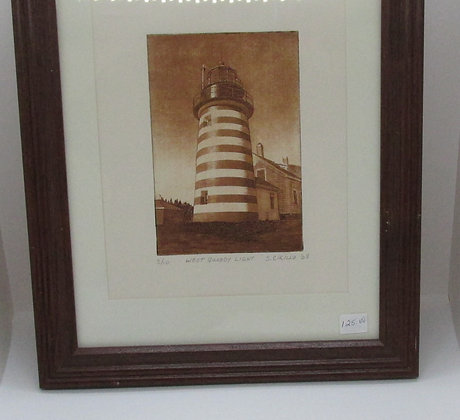 """West Quoddy Light"" Framed Etching by Artisan Sandi Cirillo"