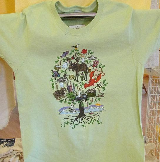 "Women's Tshirt  ""Pistachio"" MAINE TREE OF Life"