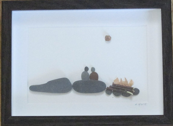 Campfire with just the two of us,   Framed Wall Hanging by Artisan Lisa Holt
