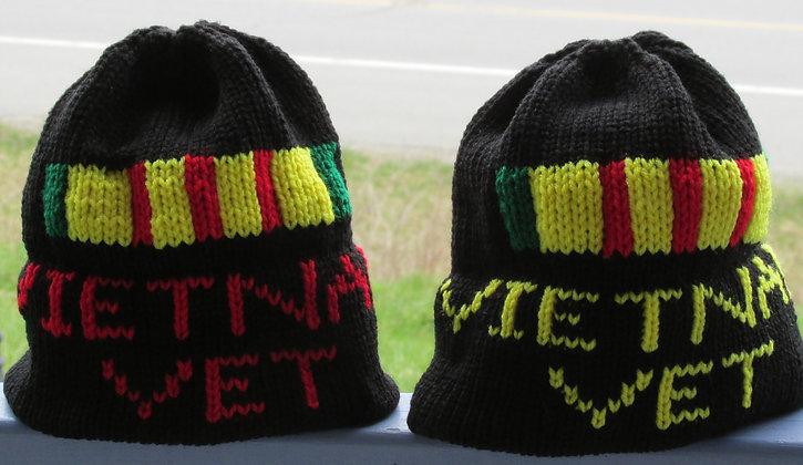 Handknit Vietnam Vet Campaign Ribbon Hat by Artisan Keepsake NogginKnits