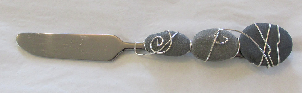 Hand Wrapped Serving Piece with Stones by Artisan Lisa Holt