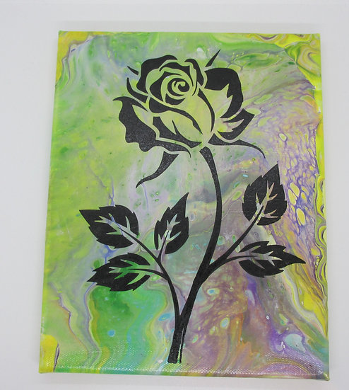"""Rose"",  Poured Acrylic Art"