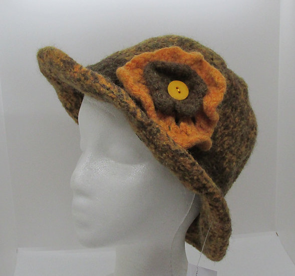 Autumn Leaves Inspired, Felted Wool Hat