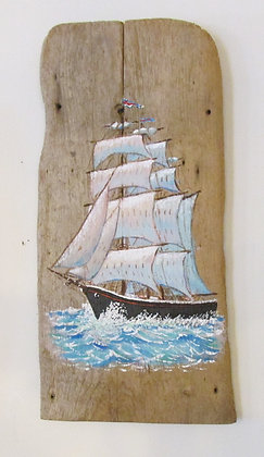Majestic Tall Ship Hand Painted on Driftwood by Artisan Candace McKellar