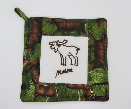 Embroidered Maine Moose Pot Holder by Artisan May Bouchard