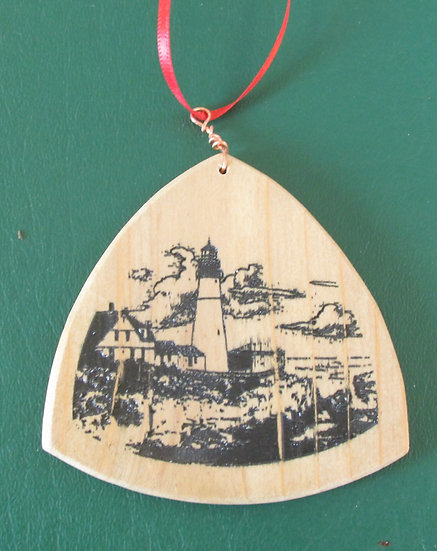 Scenic Maine Lighthouse Wooden Guitar Pick  Ornament