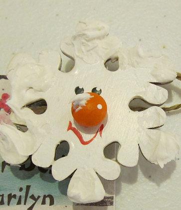 Melting Snowman Holiday Pin by Artisan Marilyn Parker