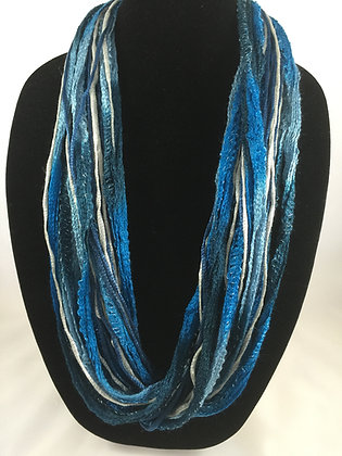Indigo Blue Plush Necklace by Artisan Jane Arey