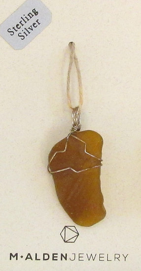 Honey Brown Seaglass Pendant wrapped in Sterling Silver