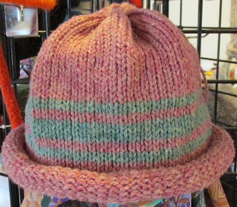Burgandy Heather Rolled Brim Wool Hat