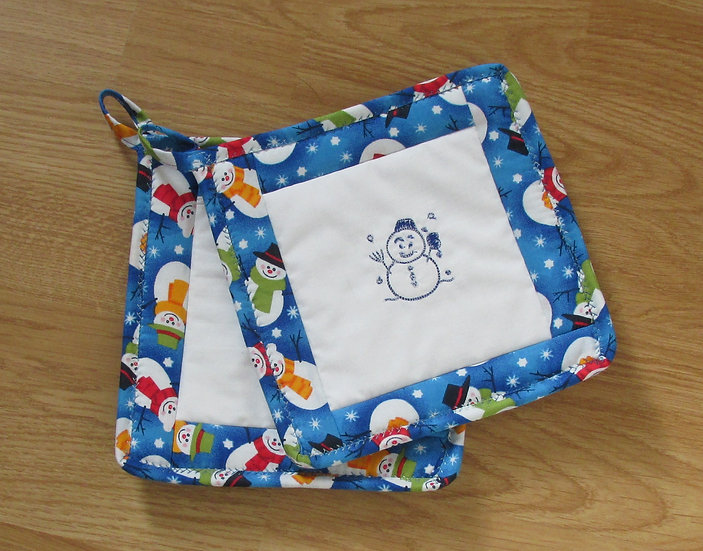 Embroidered Snowman Handsewn Pot Holder Set