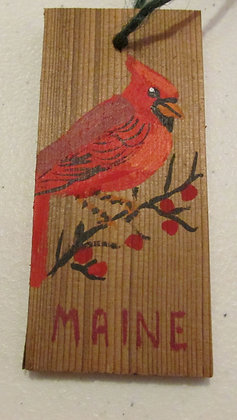 Maine Cardinal ornament by Artisan Candace McKellar