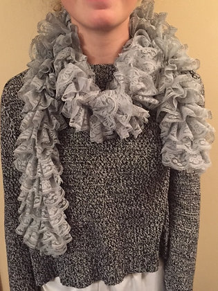 Hand Sewn Custom Gray Frilly Scarf by Artisan May Bouchard