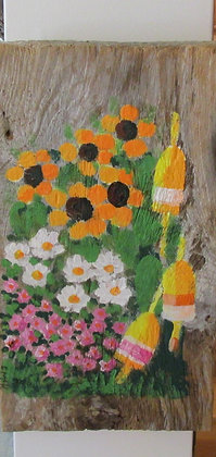 Daisies, Buoys and Sunflowers on Driftwood by Artisan Candace McKellar