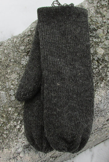 Charcoal Double Knit Wool Handknit Mittens