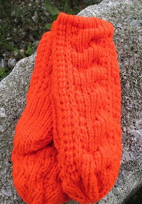 Cable Mitten, Bright Orange