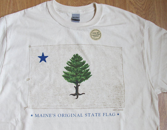 Original Maine Flag, Adult T-Shirt by Artisan Liberty Graphics