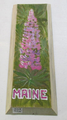 Pink Lupine Hand Painted on Driftwood by Artisan Candace McKellar