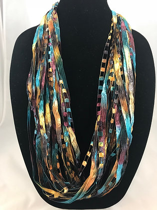 Mediterranean  Ribbon Necklace by Artisan Jane Arey