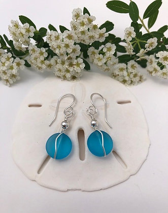 Sterling silver and cultured sea glass earrings made by Playful Jewels