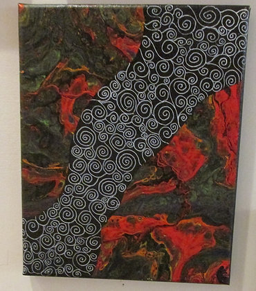 """""""Swirly Patch"""" Poured Acrylic Art by Artisan The Pour House"""