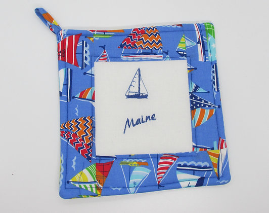 Embroidered Maine Sailboat Pot Holder by Artisan May Bouchard