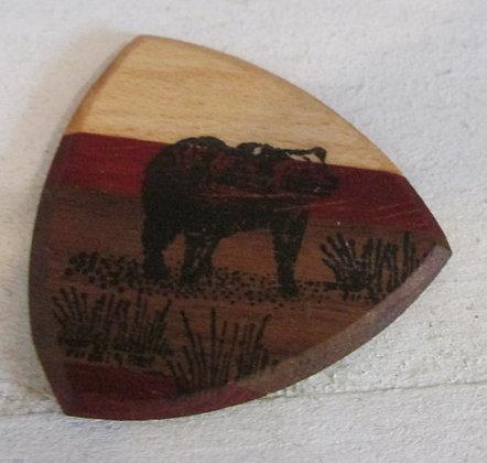 Bear  Wooden Guitar Pick by Artisan Chris Gray