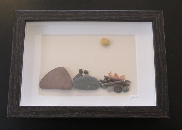 Perfect Campfire, Framed Wall Hanging by Artisan Lisa Holt