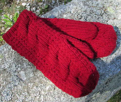 Handknit Cable Mitten, Cranberry