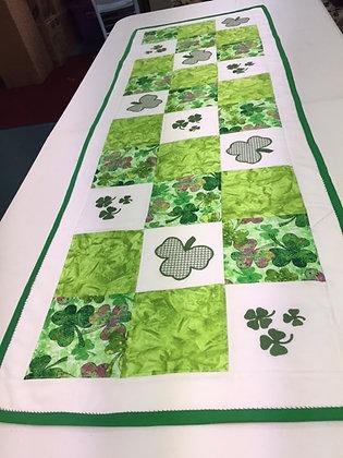 The Luck of the Irish Shamrock Table Runner by Artisan May Bouchard
