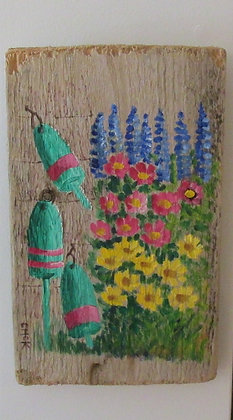My Grandmother's Garden Hand Painted on Driftwood by Artisan Candace McKellar