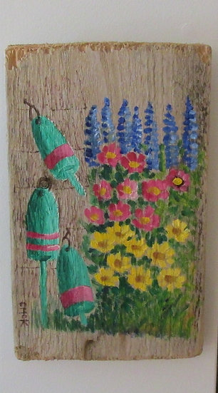 My Grandmother's Garden Hand Painted on Driftwood
